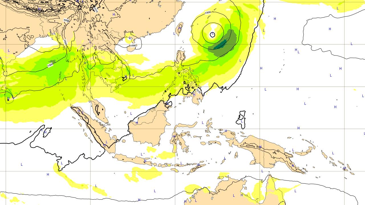 1つ目の沖縄地方に影響がありそうな台風予想進路 2018年6月9日(土)予想図