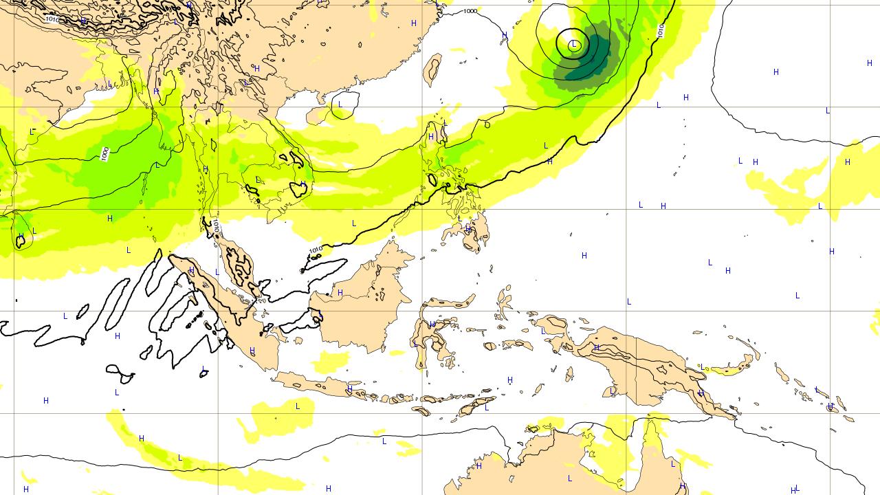 1つ目の沖縄地方に影響がありそうな台風予想進路 2018年6月10日(日)予想図