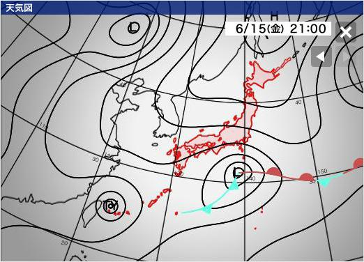 ウェザーニュース 6月15日(金)台風 進路予想図 台風第6号(ケーミー)