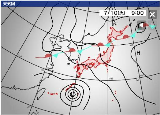 沖縄 台風8号 マリア Maria 2018年7月10日(火)午前9時時点の予想図 Weathernews