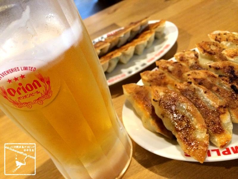 餃子にビール。オリオンビール。
