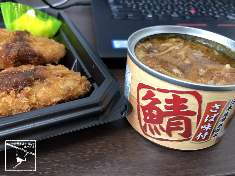 テレワーク飯 トンカツ弁当 サバ缶