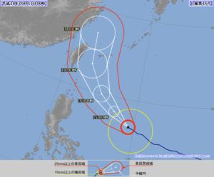 台風第16号(マラカス) 9月15日AM現在の進路予想 ※出典 気象庁
