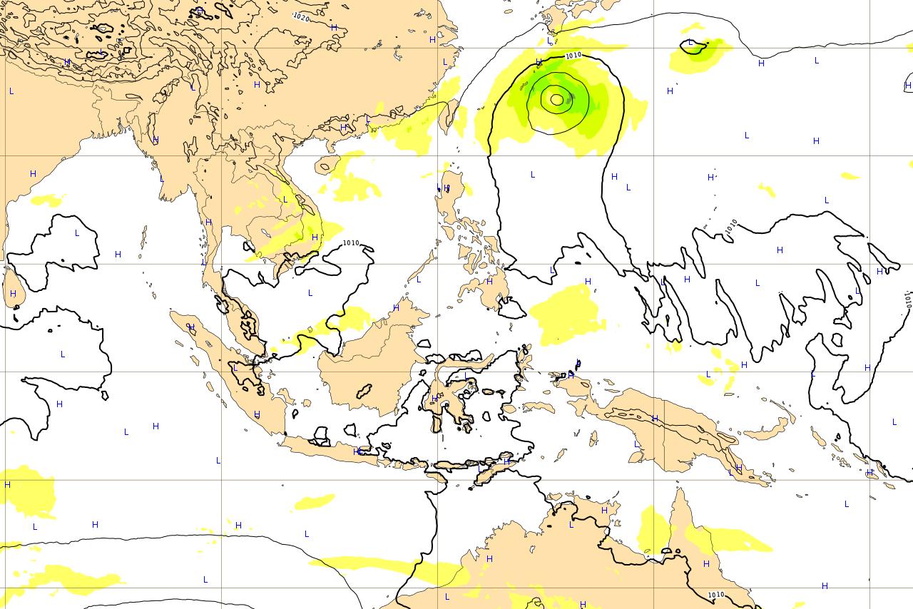 台風第22号 (サオラー) 予報 進路予想図