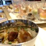 フォアグラと鶏レバーのソテー トリュフ風味リゾット添え